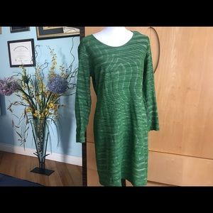 A designer dress with the long sleeves